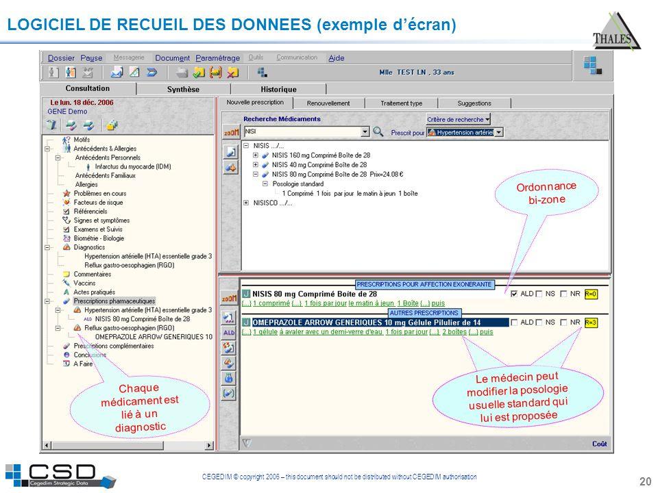 CEGEDIM © copyright 2006 – this document should not be distributed without CEGEDIM authorisation 20 LOGICIEL DE RECUEIL DES DONNEES (exemple décran) O