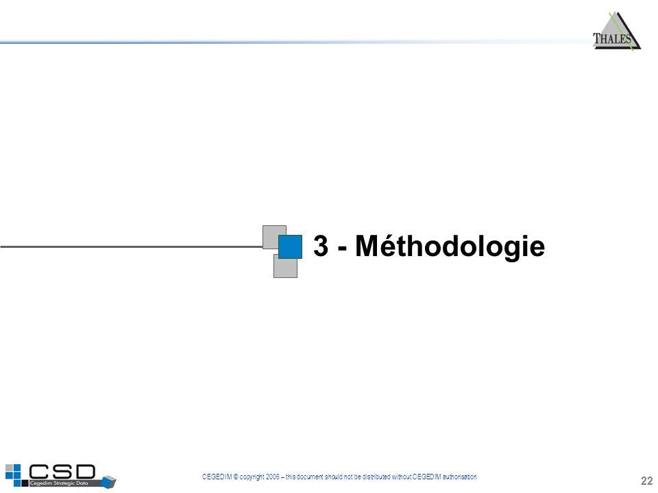 CEGEDIM © copyright 2006 – this document should not be distributed without CEGEDIM authorisation 3 - Méthodologie 22