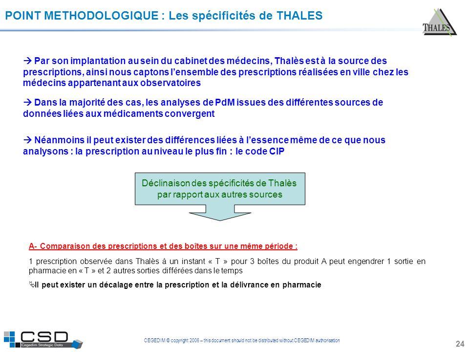 CEGEDIM © copyright 2006 – this document should not be distributed without CEGEDIM authorisation 24 POINT METHODOLOGIQUE : Les spécificités de THALES
