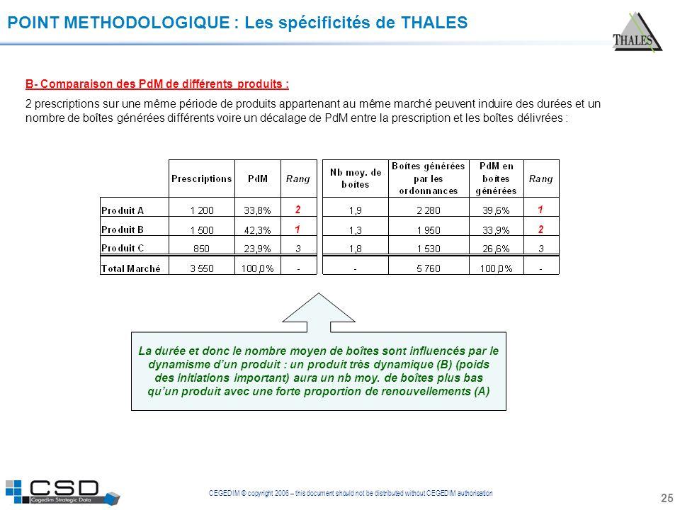 CEGEDIM © copyright 2006 – this document should not be distributed without CEGEDIM authorisation 25 POINT METHODOLOGIQUE : Les spécificités de THALES
