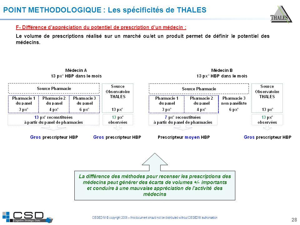CEGEDIM © copyright 2006 – this document should not be distributed without CEGEDIM authorisation 28 POINT METHODOLOGIQUE : Les spécificités de THALES