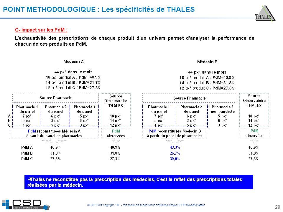 CEGEDIM © copyright 2006 – this document should not be distributed without CEGEDIM authorisation 29 POINT METHODOLOGIQUE : Les spécificités de THALES