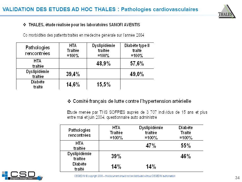 CEGEDIM © copyright 2006 – this document should not be distributed without CEGEDIM authorisation 34 VALIDATION DES ETUDES AD HOC THALES : Pathologies