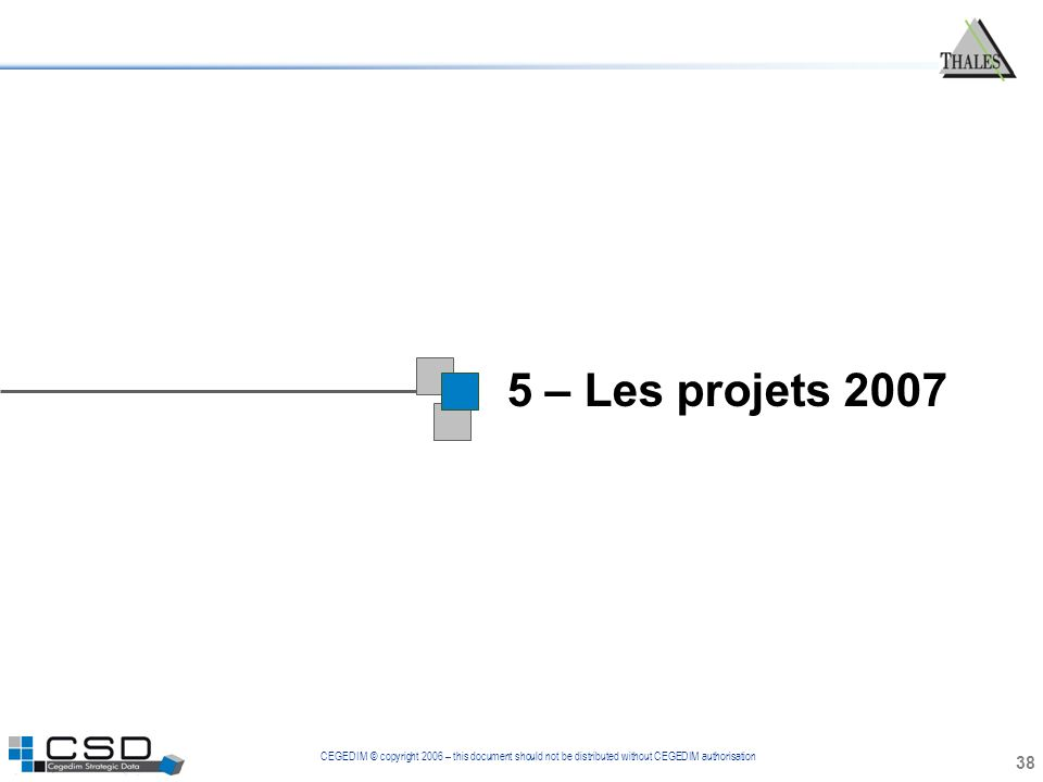 CEGEDIM © copyright 2006 – this document should not be distributed without CEGEDIM authorisation 5 – Les projets 2007 38