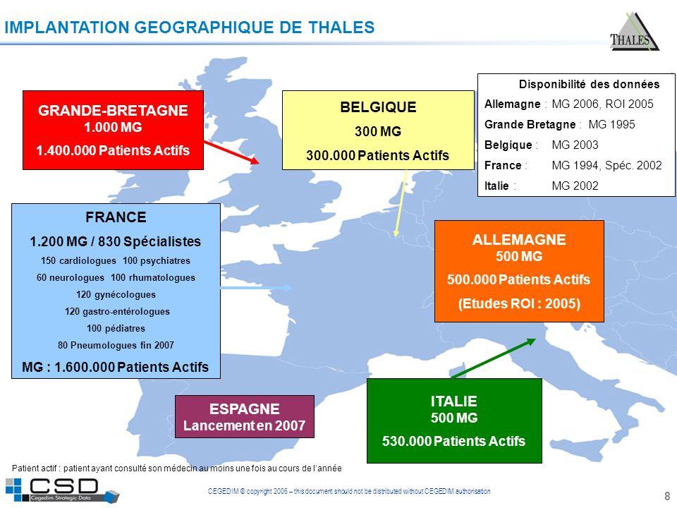 CEGEDIM © copyright 2006 – this document should not be distributed without CEGEDIM authorisation 8 IMPLANTATION GEOGRAPHIQUE DE THALES BELGIQUE 300 MG