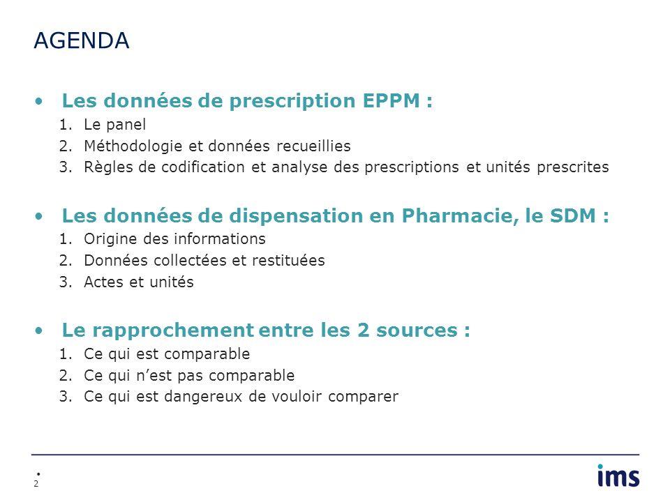 2 AGENDA Les données de prescription EPPM : 1.Le panel 2.Méthodologie et données recueillies 3.Règles de codification et analyse des prescriptions et