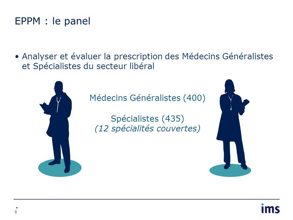 7 EPPM : hors champ Les remplaçants Les médecins exerçant dans les DOM-TOM et en Corse Les médecins dont lactivité extra-libérale représente > 25% de leur activité Les spécialités non couvertes (urologues, stomatologues, chirurgiens, radiologues, rééducation et réadaptation fonctionnelles,...) Les chirurgiens-dentistes Les médecins exerçant en médecine durgence (SOS médecin,...) Lactivité non libérale : des centres sanitaires, des centres de médecine sociale, les centres de soins