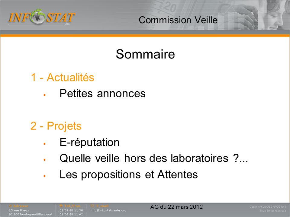 Commission Veille Sommaire 1 - Actualités Petites annonces 2 - Projets E-réputation Quelle veille hors des laboratoires ?... Les propositions et Atten