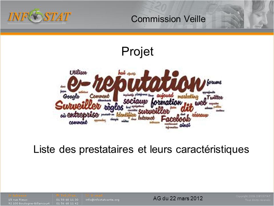 Commission Veille Projet Liste des prestataires et leurs caractéristiques AG du 22 mars 2012