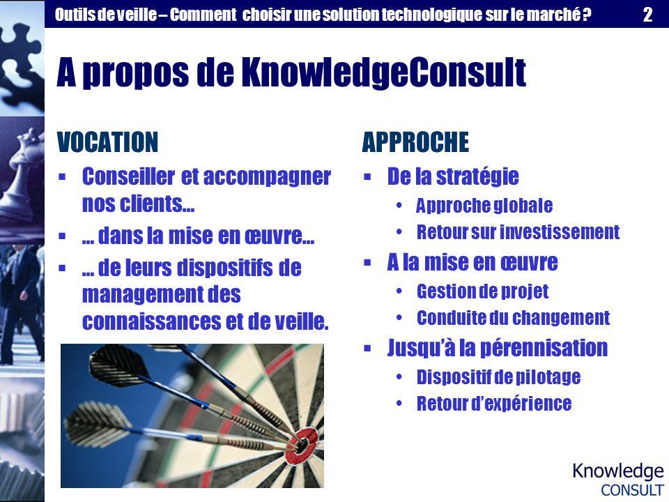 2 Outils de veille – Comment choisir une solution technologique sur le marché ? A propos de KnowledgeConsult VOCATION Conseiller et accompagner nos cl