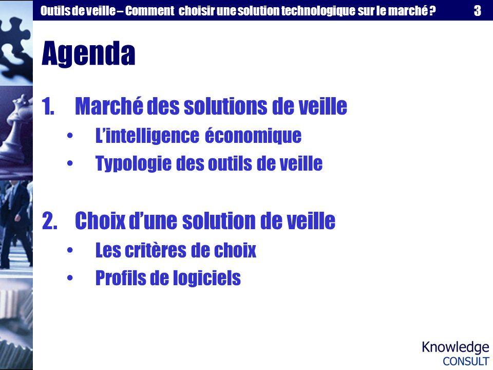 3 Outils de veille – Comment choisir une solution technologique sur le marché ? Agenda 1.Marché des solutions de veille Lintelligence économique Typol