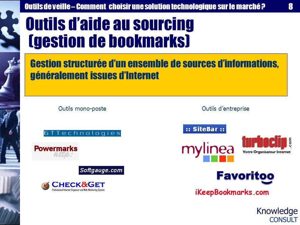 8 Outils de veille – Comment choisir une solution technologique sur le marché ? Outils daide au sourcing (gestion de bookmarks) Gestion structurée dun