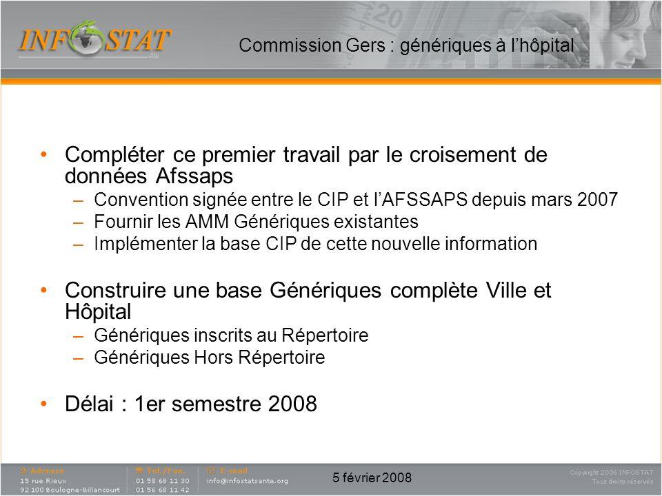 5 février 2008 Compléter ce premier travail par le croisement de données Afssaps –Convention signée entre le CIP et lAFSSAPS depuis mars 2007 –Fournir