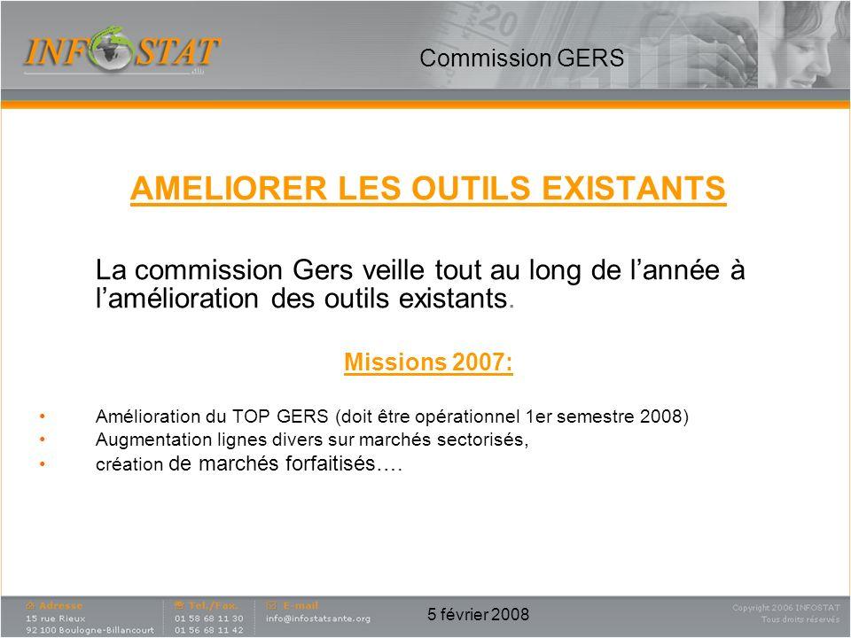 5 février 2008 AMELIORER LES OUTILS EXISTANTS La commission Gers veille tout au long de lannée à lamélioration des outils existants. Missions 2007: Am