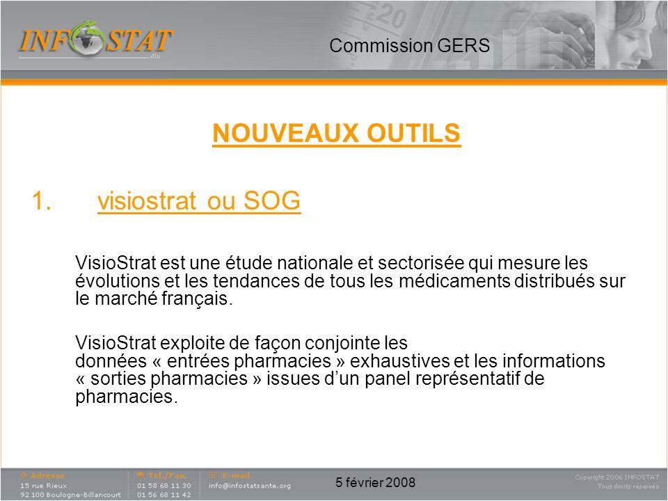 5 février 2008 NOUVEAUX OUTILS 1.visiostrat ou SOG VisioStrat est une étude nationale et sectorisée qui mesure les évolutions et les tendances de tous