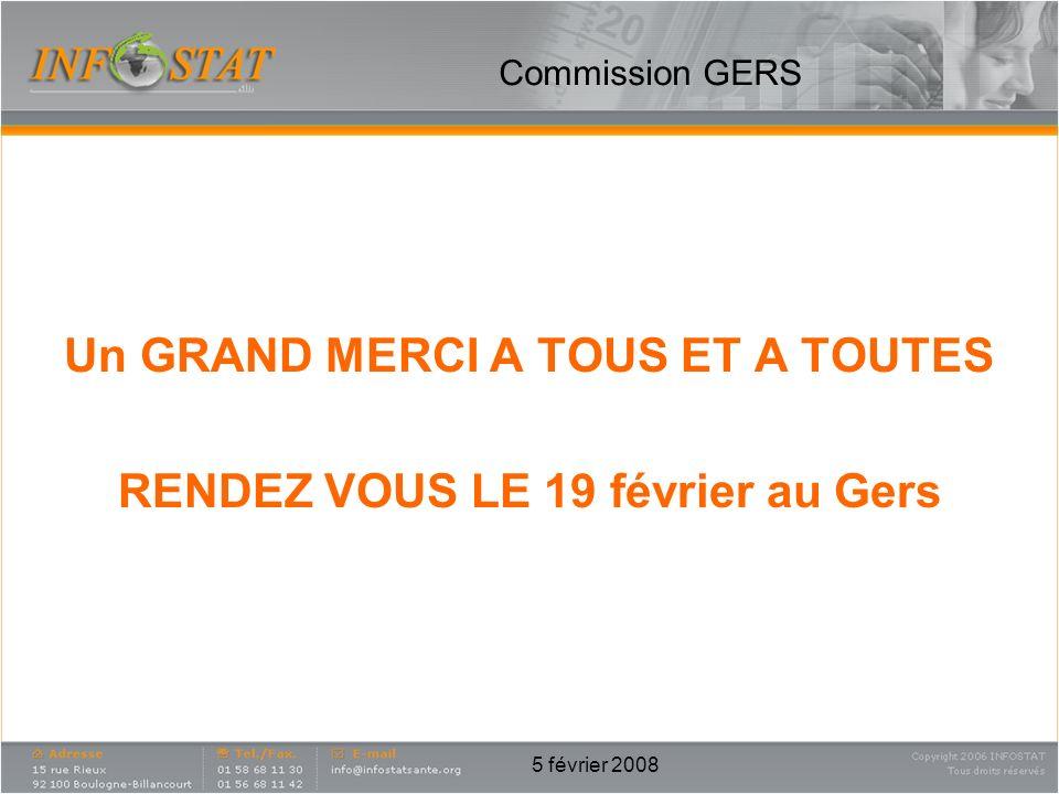 5 février 2008 Un GRAND MERCI A TOUS ET A TOUTES RENDEZ VOUS LE 19 février au Gers Commission GERS