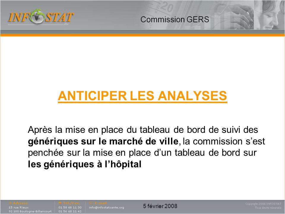 5 février 2008 ANTICIPER LES ANALYSES Après la mise en place du tableau de bord de suivi des génériques sur le marché de ville, la commission sest pen
