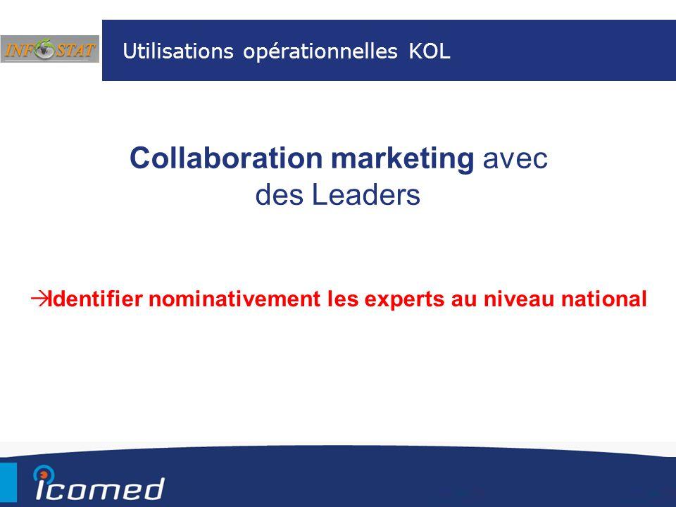 Collaboration marketing avec des Leaders Utilisations opérationnelles KOL Identifier nominativement les experts au niveau national