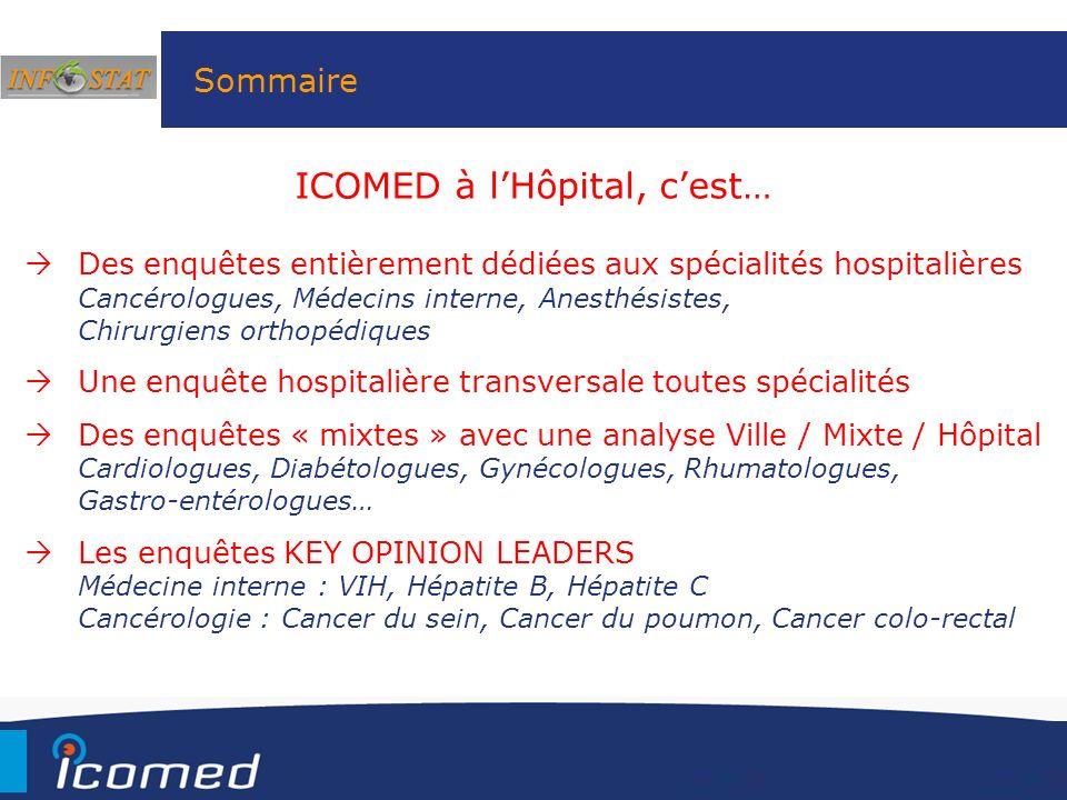 Sommaire Des enquêtes entièrement dédiées aux spécialités hospitalières Cancérologues, Médecins interne, Anesthésistes, Chirurgiens orthopédiques Une