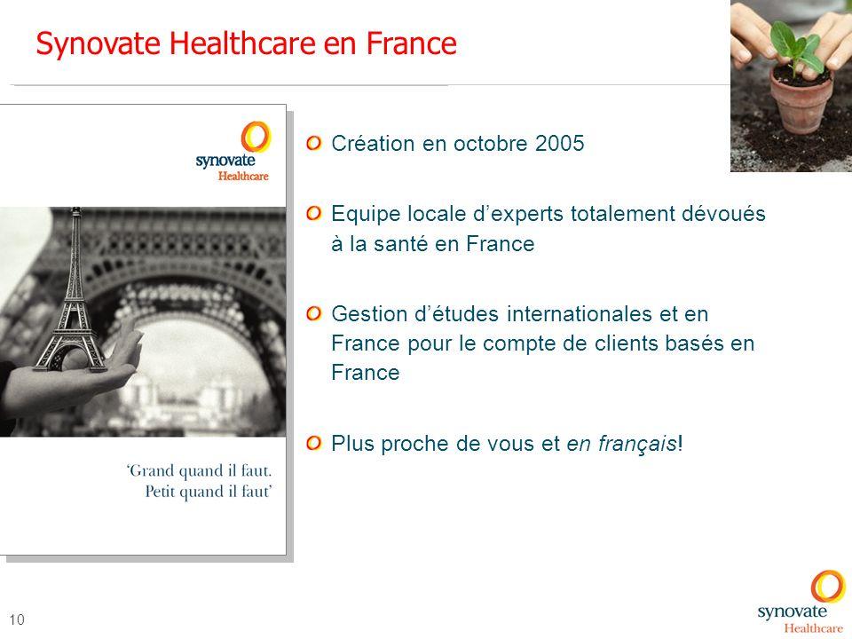 10 Synovate Healthcare en France Création en octobre 2005 Equipe locale dexperts totalement dévoués à la santé en France Gestion détudes international