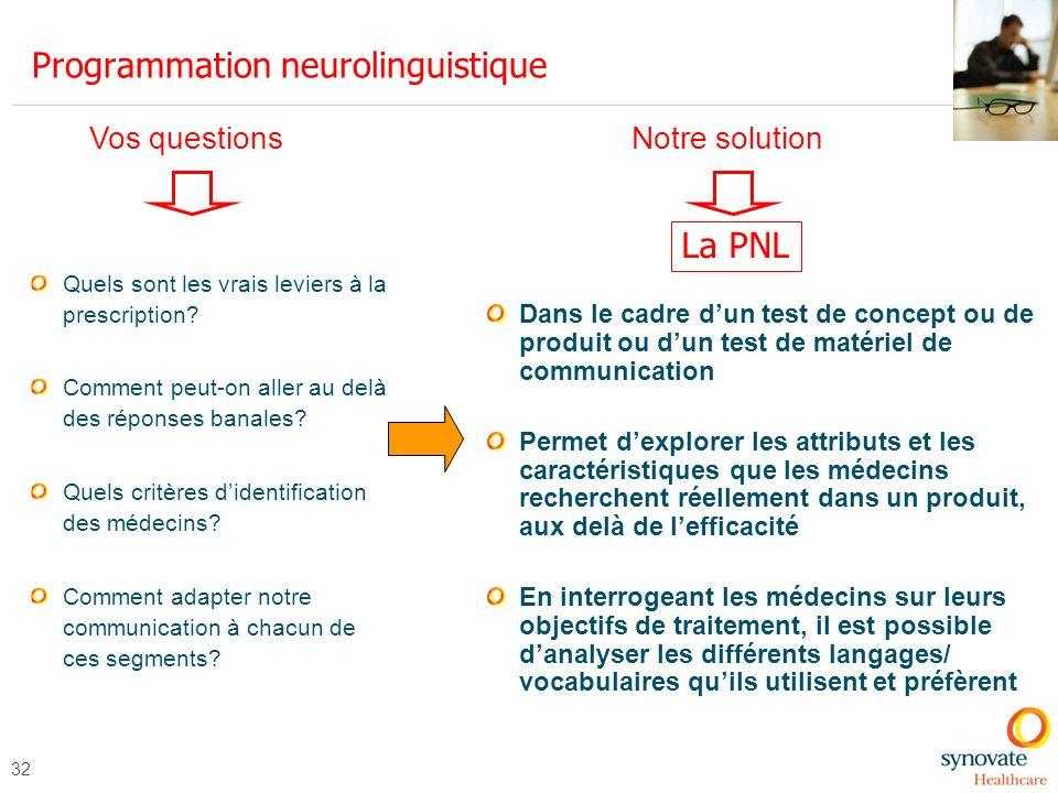 32 Programmation neurolinguistique Quels sont les vrais leviers à la prescription? Comment peut-on aller au delà des réponses banales? Quels critères