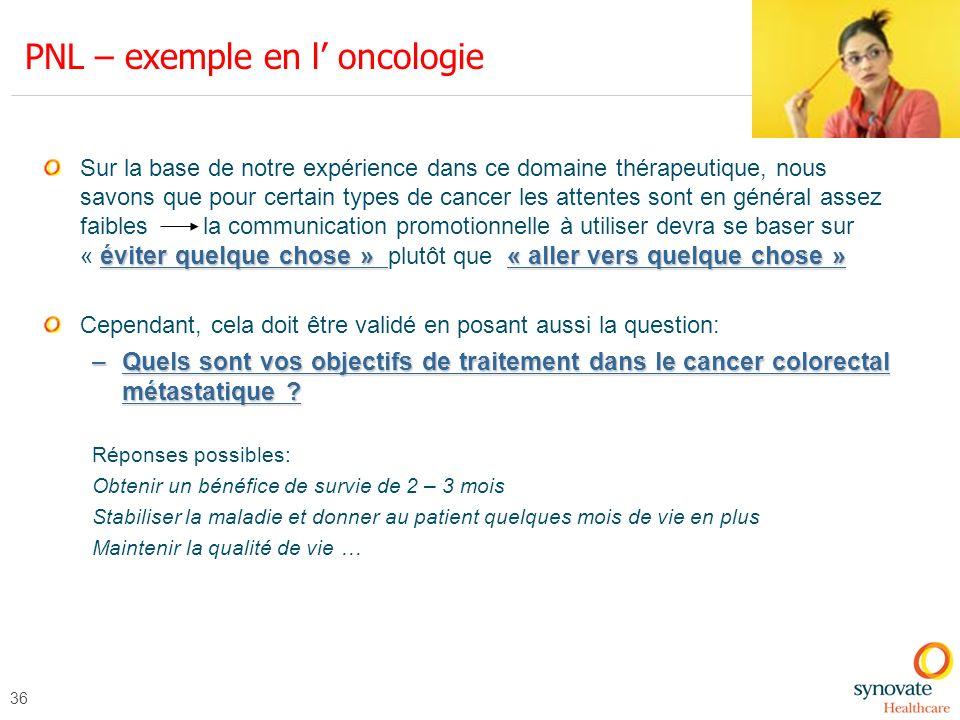 36 PNL – exemple en l oncologie éviter quelque chose » « aller vers quelque chose » Sur la base de notre expérience dans ce domaine thérapeutique, nou