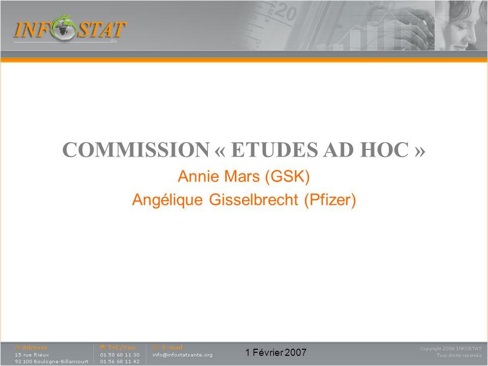 1 Février 2007 COMMISSION « ETUDES AD HOC » Annie Mars (GSK) Angélique Gisselbrecht (Pfizer)