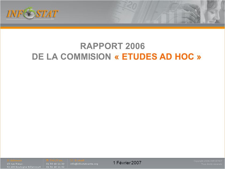 1 Février 2007 RAPPORT 2006 DE LA COMMISION « ETUDES AD HOC »