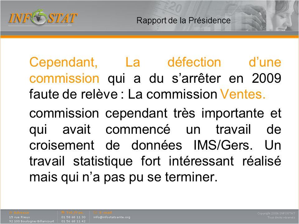 Rapport de la Présidence Cependant, La défection dune commission qui a du sarrêter en 2009 faute de relève : La commission Ventes. commission cependan