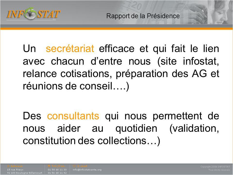 Rapport de la Présidence Un secrétariat efficace et qui fait le lien avec chacun dentre nous (site infostat, relance cotisations, préparation des AG e
