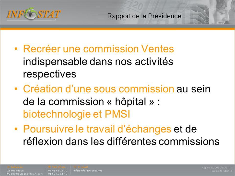 Rapport de la Présidence Recréer une commission Ventes indispensable dans nos activités respectives Création dune sous commission au sein de la commis