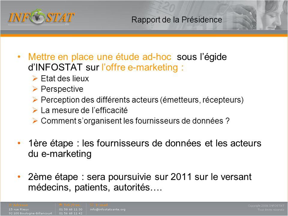 Rapport de la Présidence Mettre en place une étude ad-hoc sous légide dINFOSTAT sur loffre e-marketing : Etat des lieux Perspective Perception des dif