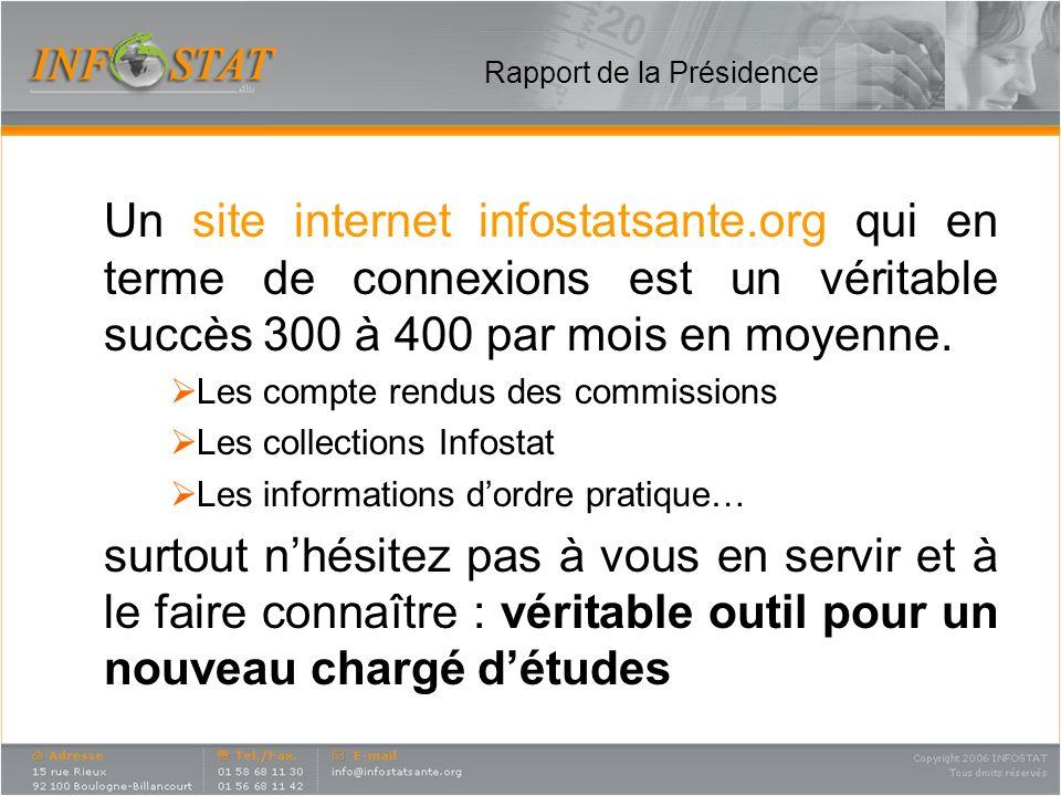 Rapport de la Présidence Un site internet infostatsante.org qui en terme de connexions est un véritable succès 300 à 400 par mois en moyenne. Les comp