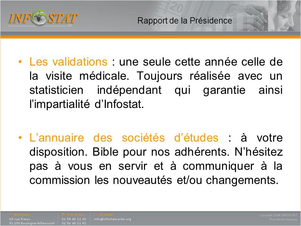Rapport de la Présidence Les validations : une seule cette année celle de la visite médicale. Toujours réalisée avec un statisticien indépendant qui g