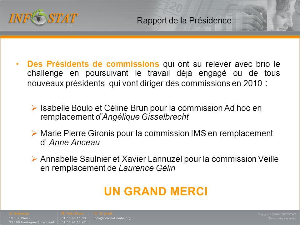 Rapport de la Présidence Cependant, La défection dune commission qui a du sarrêter en 2009 faute de relève : La commission Ventes.