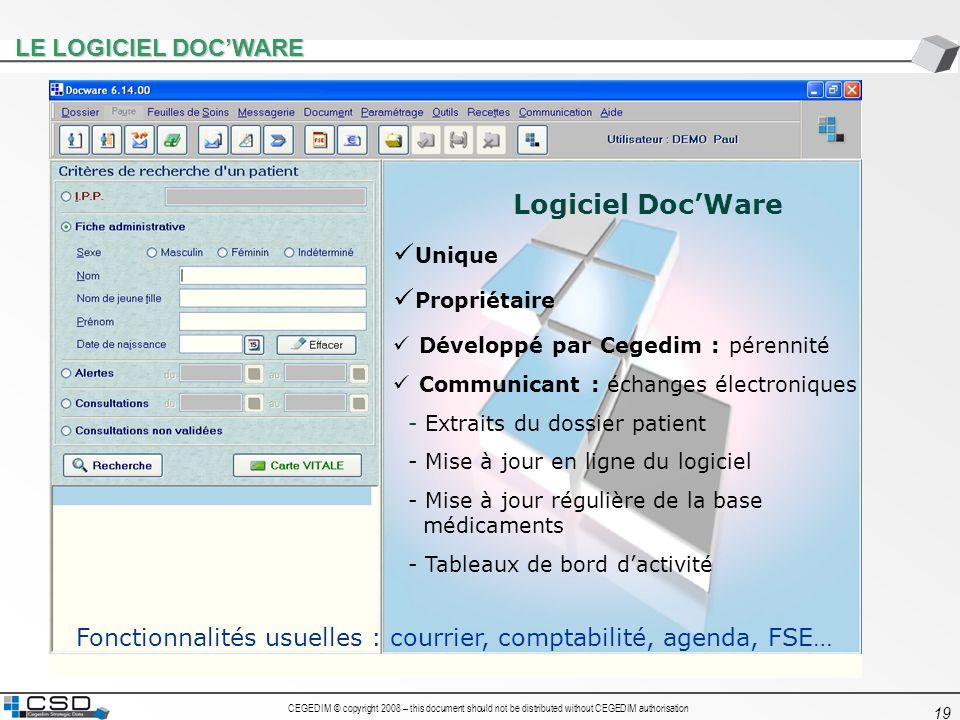 CEGEDIM © copyright 2008 – this document should not be distributed without CEGEDIM authorisation 19 LE LOGICIEL DOCWARE Logiciel DocWare Unique Propri