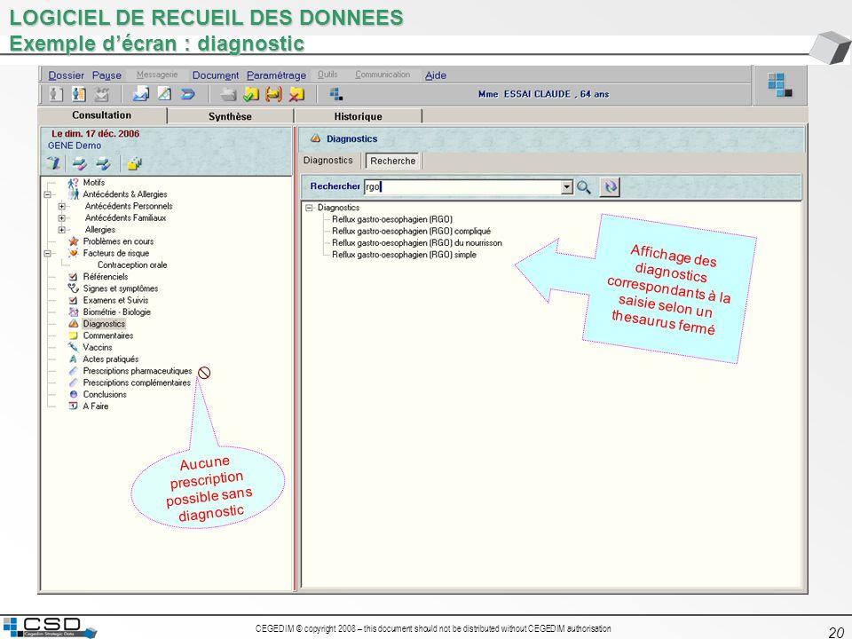 CEGEDIM © copyright 2008 – this document should not be distributed without CEGEDIM authorisation 20 LOGICIEL DE RECUEIL DES DONNEES Exemple décran : d