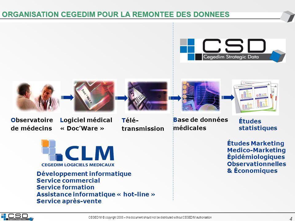 CEGEDIM © copyright 2008 – this document should not be distributed without CEGEDIM authorisation 25 4 – Les données issues du logiciel