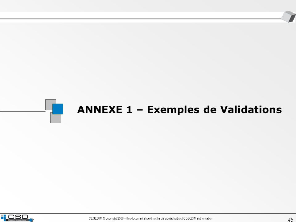 CEGEDIM © copyright 2008 – this document should not be distributed without CEGEDIM authorisation 45 ANNEXE 1 – Exemples de Validations