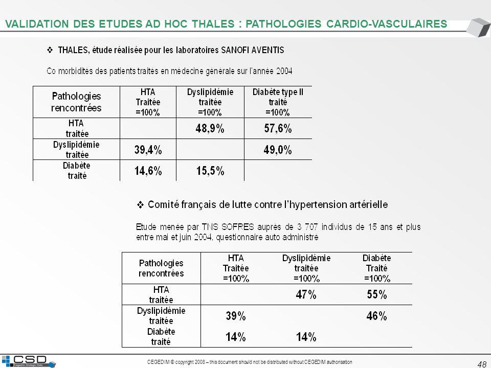 CEGEDIM © copyright 2008 – this document should not be distributed without CEGEDIM authorisation 48 VALIDATION DES ETUDES AD HOC THALES : PATHOLOGIES