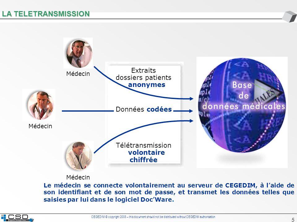 CEGEDIM © copyright 2008 – this document should not be distributed without CEGEDIM authorisation 56 PATIENT PROFILE MEDICAL HISTORY LOOK UP Tables Drug base (More than 15 000 references) Drug Code DescriptionBrandPrice Nber of caps Class 5Class 4 With- drawal Date Addition Date Molecule 3715372 ZESTORETIC 20 mg/12.5 mg Comprimé Bte 30ZESTORETIC16,2830C09B1C09B 06/02/2007 Lisinopril + Hydrochlorothiazide 3412447 CELESTENE 2MG CPR DISP FP20CELESTENE5,3720H02A2H02A 05/04/2005 Bétaméthasone 3575592 KETEK 400 mg Comprimé Boîte de 10KETEK34,8310J01F 05/04/2005 Télithromycine 3535606 DERINOX NAS AMP15ML+FL.POMP 1DERINOX2,64 R01A1R01A 05/04/2005 Prednisolone / Naphazoline 3698521 CRESTOR 5 mg Comprimé Boîte de 28CRESTOR18,8228C10A1C10A 22/12/2005 Rosuvastatine Diagnoses Table Code 1Code 2Description 271Bilan d une HTA 2149Infarctus du myocarde 2220Insuffisance veineuse 568Gastrite antrale 5101Colopathie fonctionnelle 9103Hyperlipidémie mixte 10300Insomnie 11121Glaucome aigu 11245Bourdonnements d oreille 11302Sinusite aiguë 1240Bronchite aiguë 14149Lombarthrose EphMRA Code