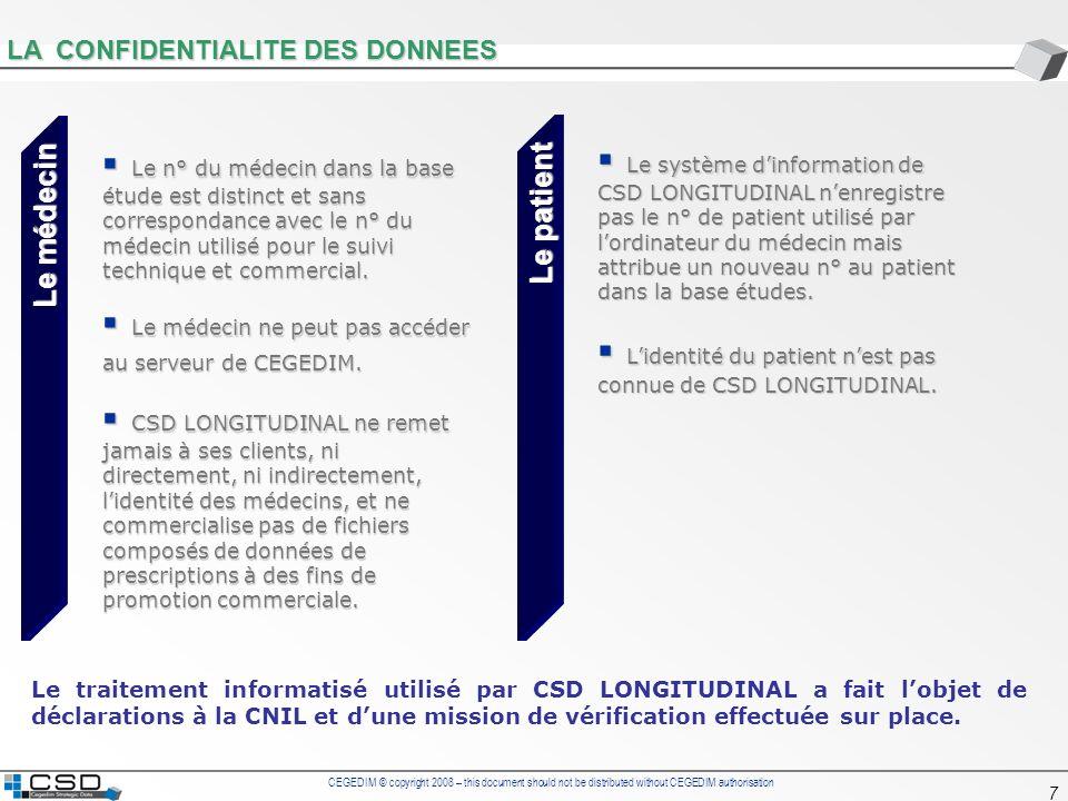 CEGEDIM © copyright 2008 – this document should not be distributed without CEGEDIM authorisation 7 LA CONFIDENTIALITE DES DONNEES Le n° du médecin dan