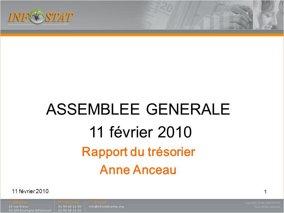 1 ASSEMBLEE GENERALE 11 février 2010 Rapport du trésorier Anne Anceau 11 février 2010
