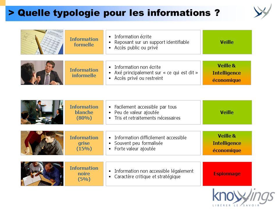 > Quelle typologie pour les informations ? Information grise (15%) Information difficilement accessible Souvent peu formalisée Forte valeur ajoutée In