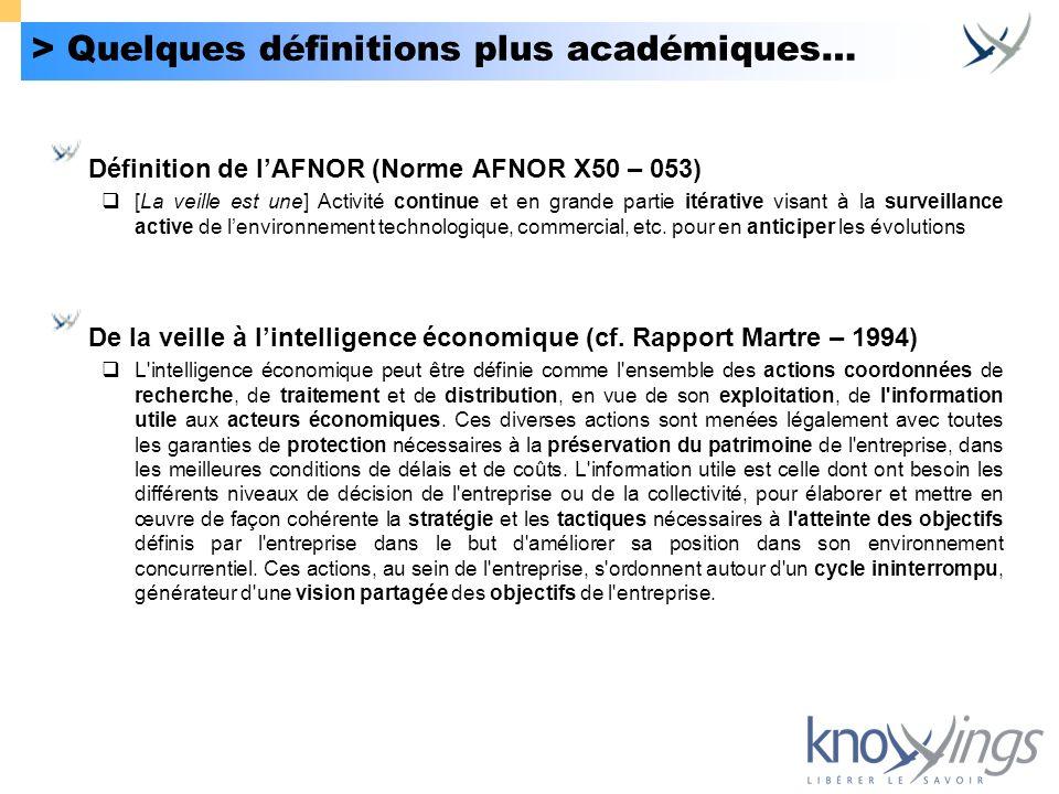 > Quelques définitions plus académiques… Définition de lAFNOR (Norme AFNOR X50 – 053) [La veille est une] Activité continue et en grande partie itérat