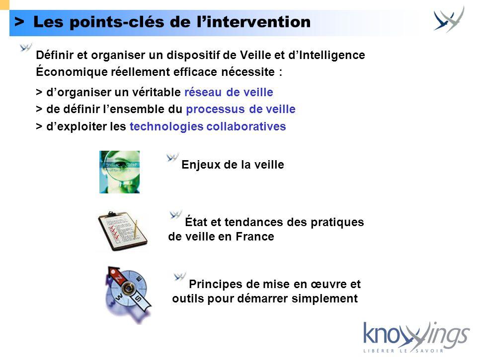 >Les points-clés de lintervention Définir et organiser un dispositif de Veille et dIntelligence Économique réellement efficace nécessite : > dorganise