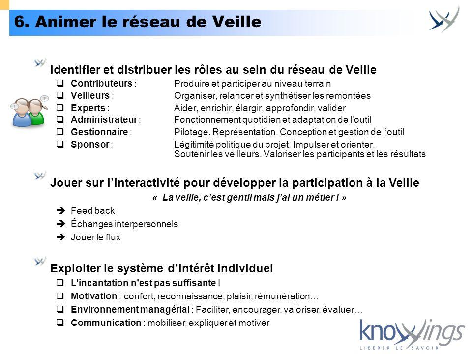 6. Animer le réseau de Veille Identifier et distribuer les rôles au sein du réseau de Veille Contributeurs :Produire et participer au niveau terrain V