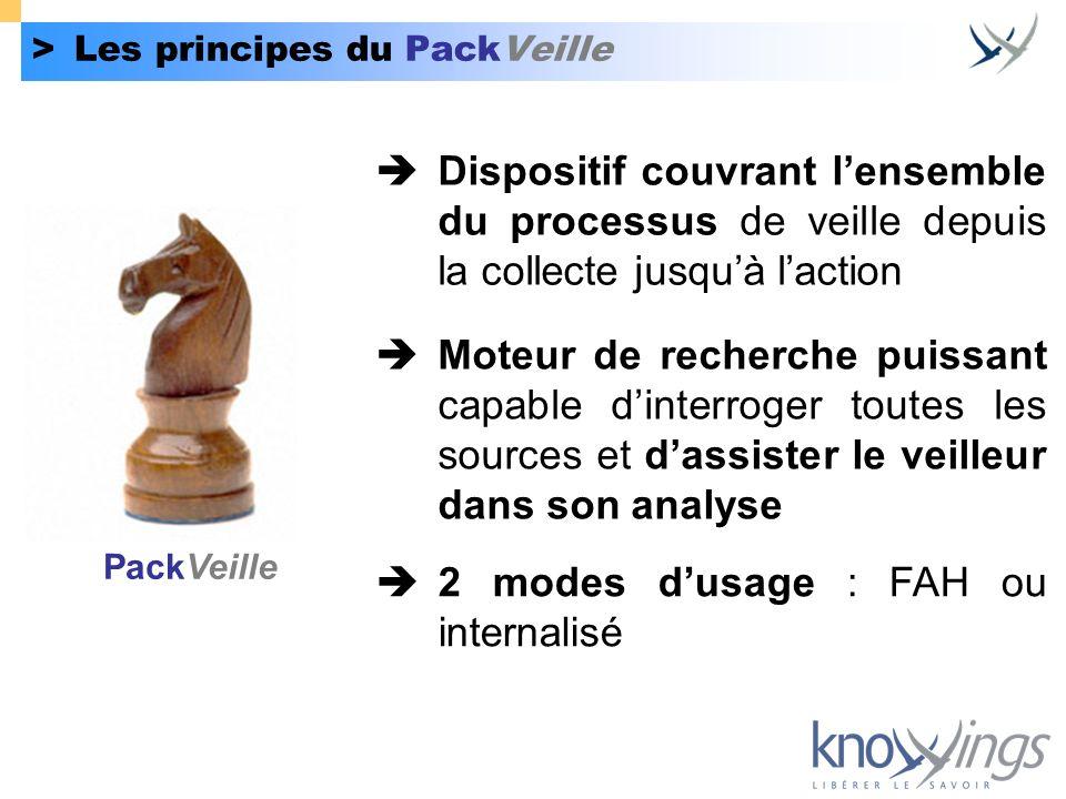 >Les principes du PackVeille Dispositif couvrant lensemble du processus de veille depuis la collecte jusquà laction Moteur de recherche puissant capab