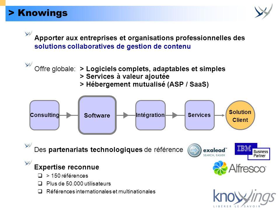 > Knowings Offre globale: > Logiciels complets, adaptables et simples > Services à valeur ajoutée > Hébergement mutualisé (ASP / SaaS) Des partenariat