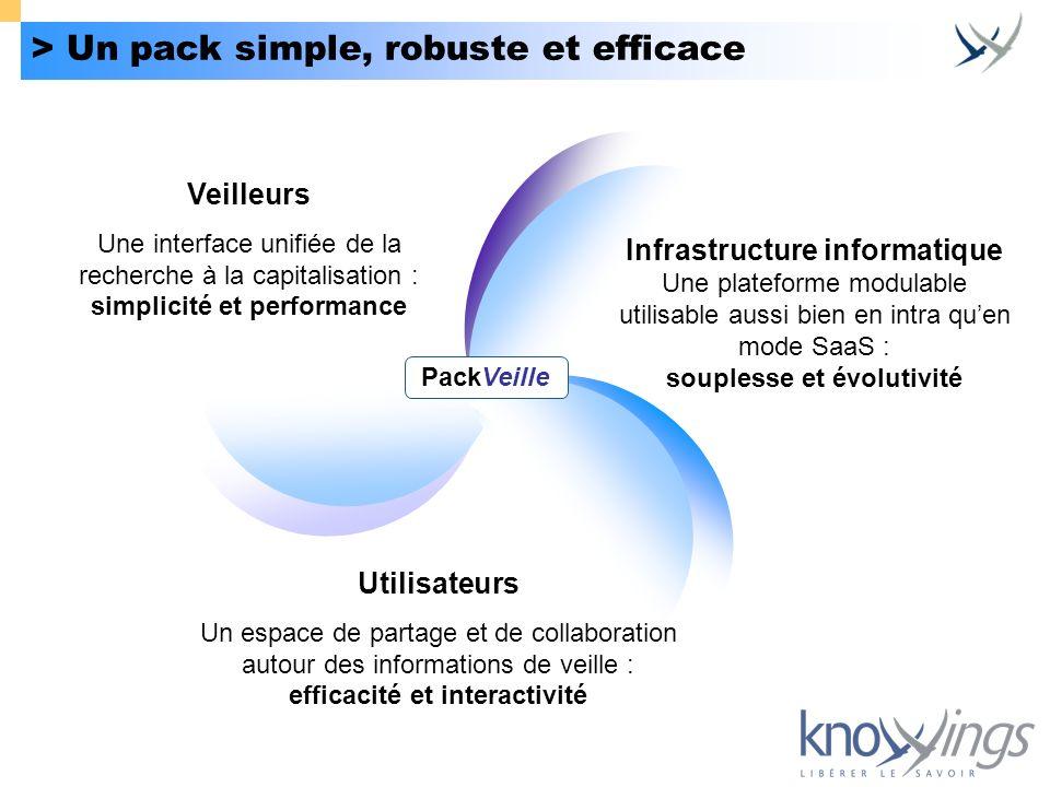 > Un pack simple, robuste et efficace Infrastructure informatique Une plateforme modulable utilisable aussi bien en intra quen mode SaaS : souplesse e